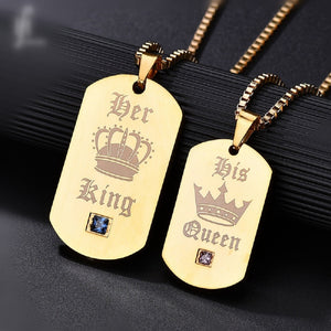 King & Queen His & Hers Couple Dog Tags (4 Styles) Black or Gold