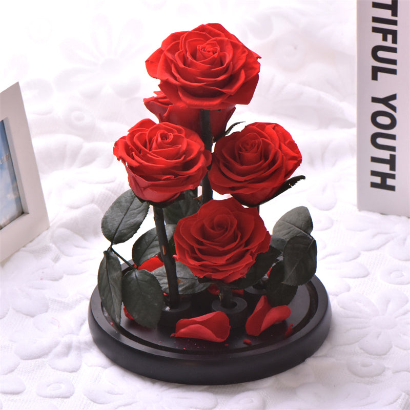 Mini Bouquet Immortal Enchanted Preserved Rose Glass Display