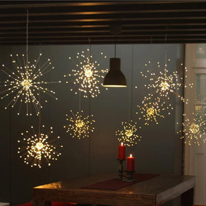 LED Starburst Firework Copper Lights with Remote (3 Sizes) White or Multi-color