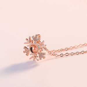 "Winter Snowflake ""I Love You"" Forever 100 Language Micro Projection Necklace"