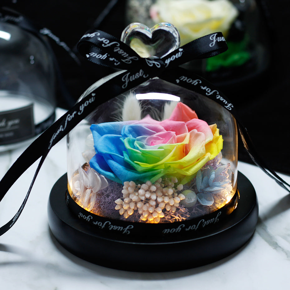 Immortal Enchanted Rose Glass Heart Dome (15 Designs)