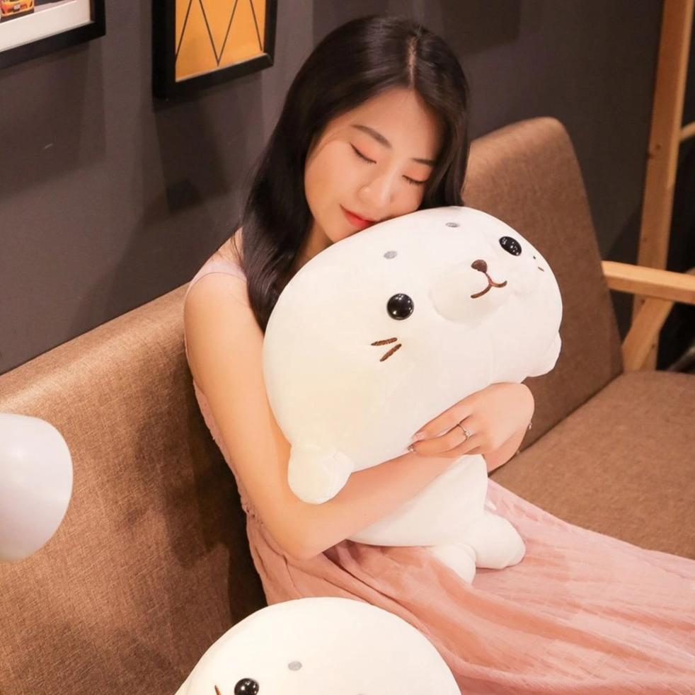 Chubby White Seal Pillow Plush 3D Stuffed Animal (2 Sizes)