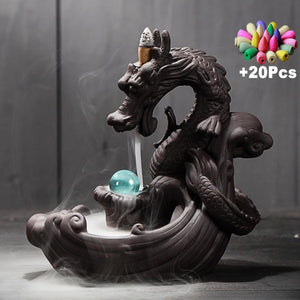 Mystic Dragon Down Flow Draft Incense Burner