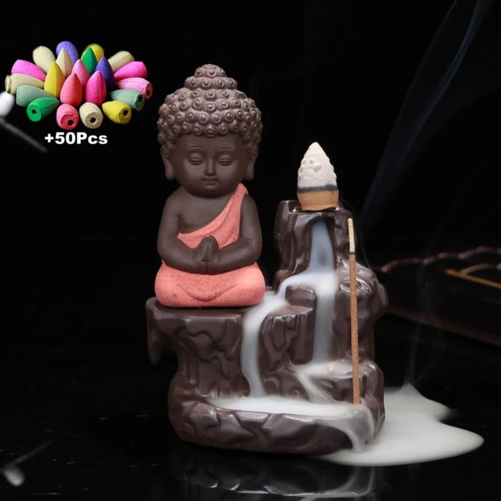 Mystic Monk Down Flow Draft Incense Burner (6 Colors)