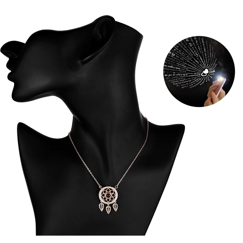 "Dream Catcher ""I Love You"" Forever 100 Language Micro Projection Necklace"