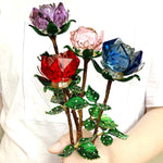 *Back Ordered Until 2/20/20* Crystal Glass Enchanted Rose (4 Colors)