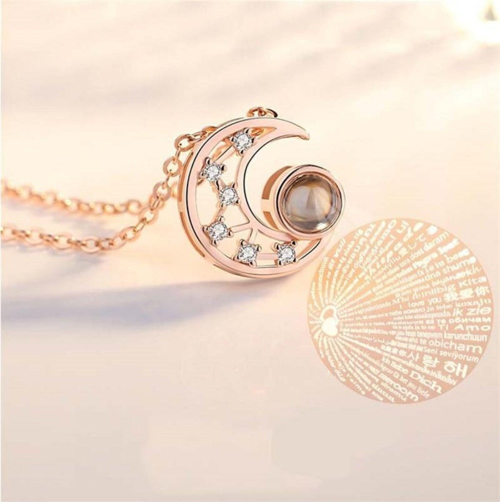 """I Love You"" Forever (Moon) 100 Language Micro Projection Necklace"
