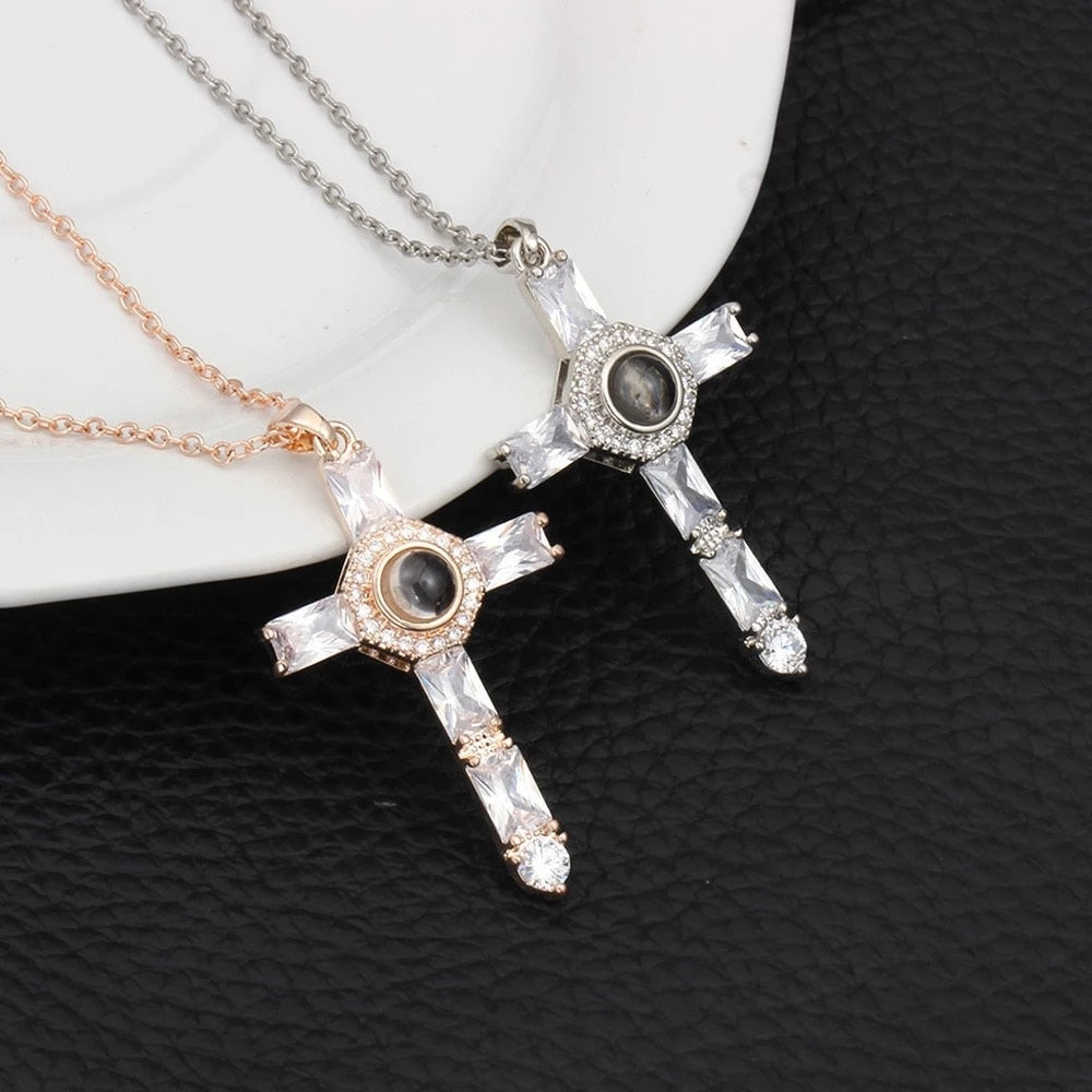 """I Love You"" Forever (Cross) 100 Language Micro Projection Necklace"
