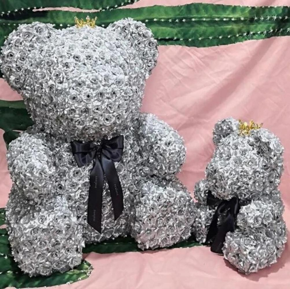 Gold or Silver Royal Enchanted Forever Rose Teddy Bear or Bunny (9 Designs)