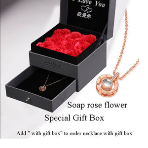 """I Love You"" Sterling Silver 100 Language Micro Projection Necklace With Optional Rose Box"