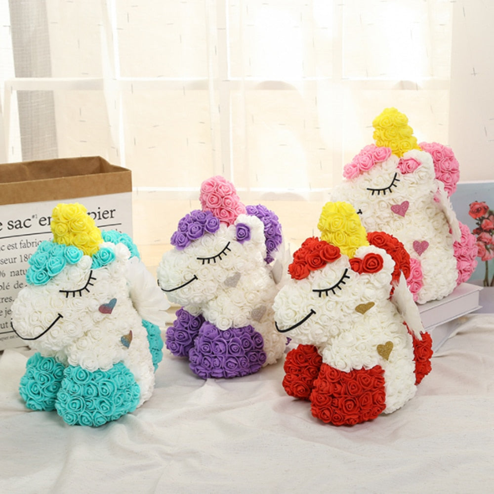 Unicorn Rose Bear Large (5 Colors)