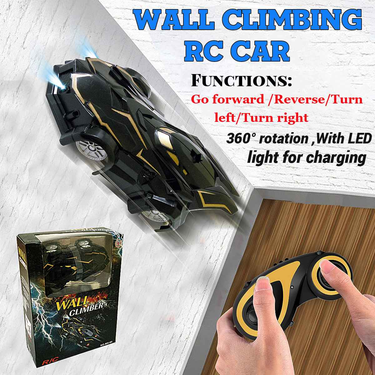 Black Mobile Anti Gravity Wall Climbing RC Car Toy LIMITED EDITION