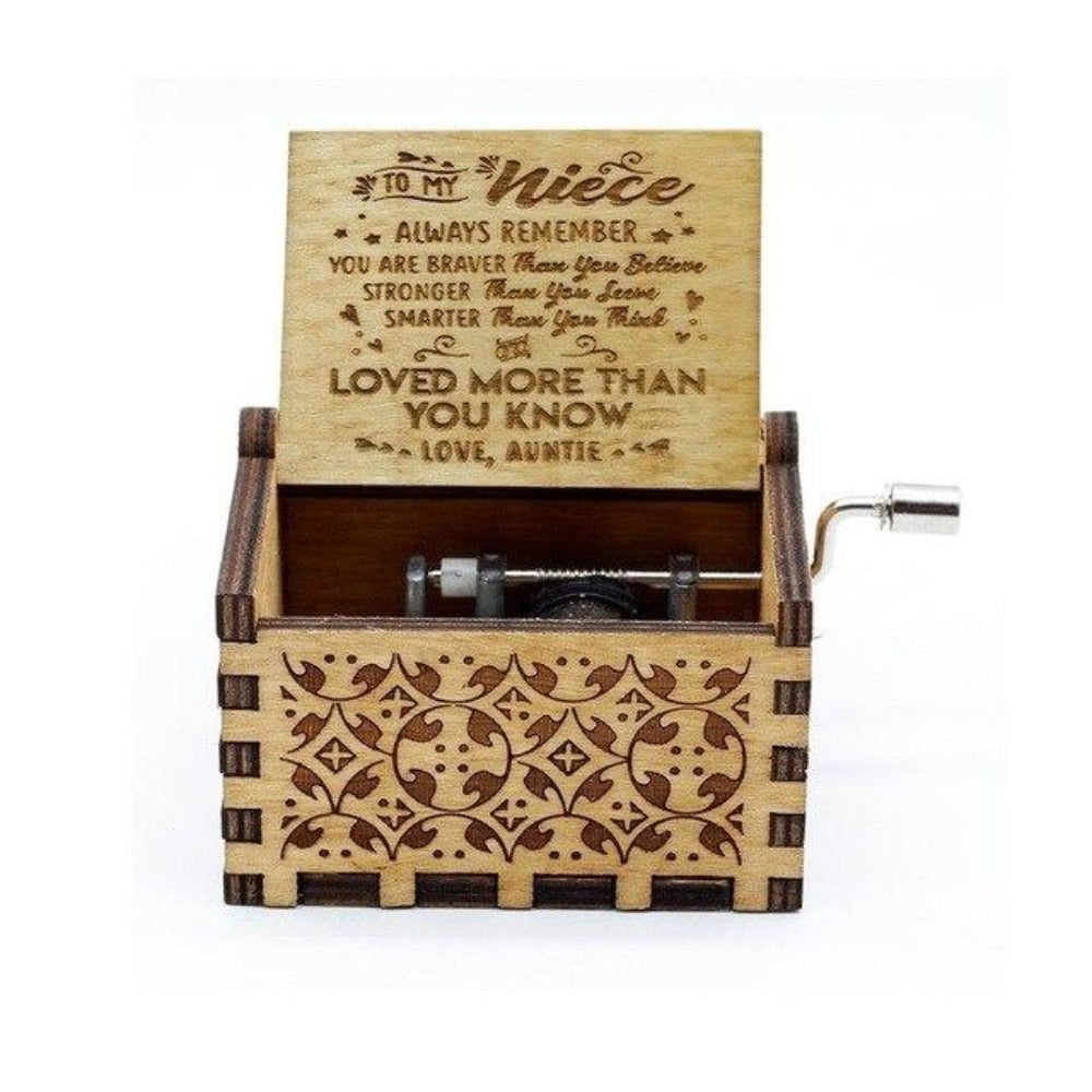 To Niece From Aunt - You Are Braver Than You Believe and Loved More Than You Know - Engraved Music Box