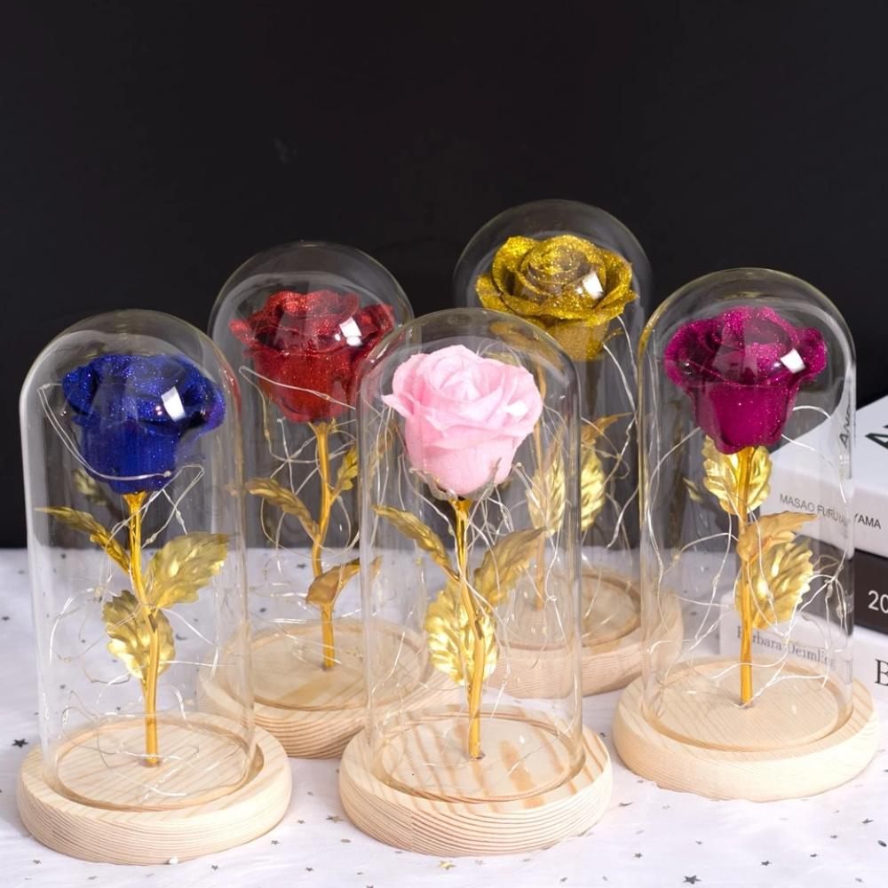 Shimmering Gold Glitter Enchanted Rose LED Glass Display (5 Variants)