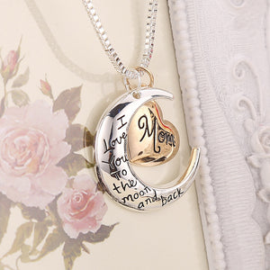 I Love You to the Moon and Back Mom Mother's Day Heart Necklace Pendant