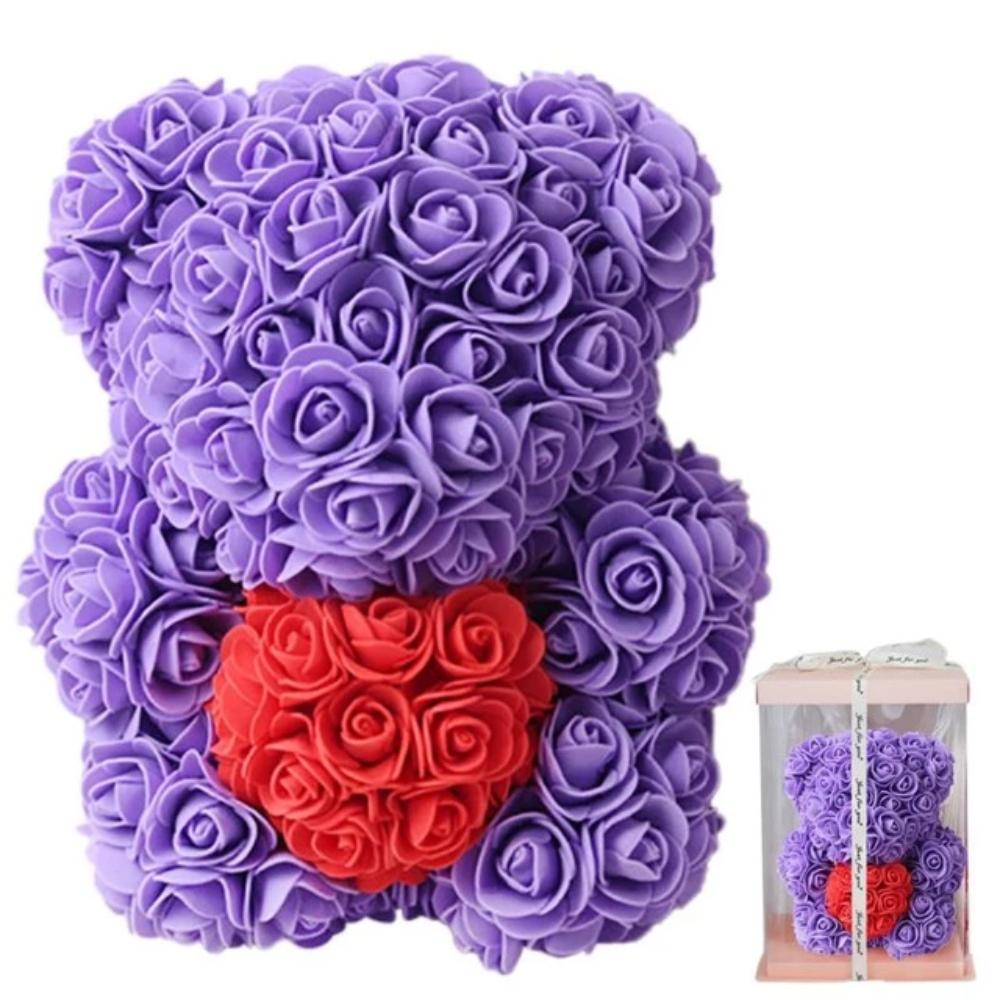 Chibi Enchanted Forever Rose Heart Teddy Bear (8 Colors)