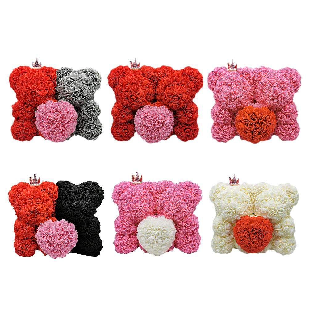 King & Queen Couple Enchanted Forever Rose Heart Teddy Bear (6 Colors)