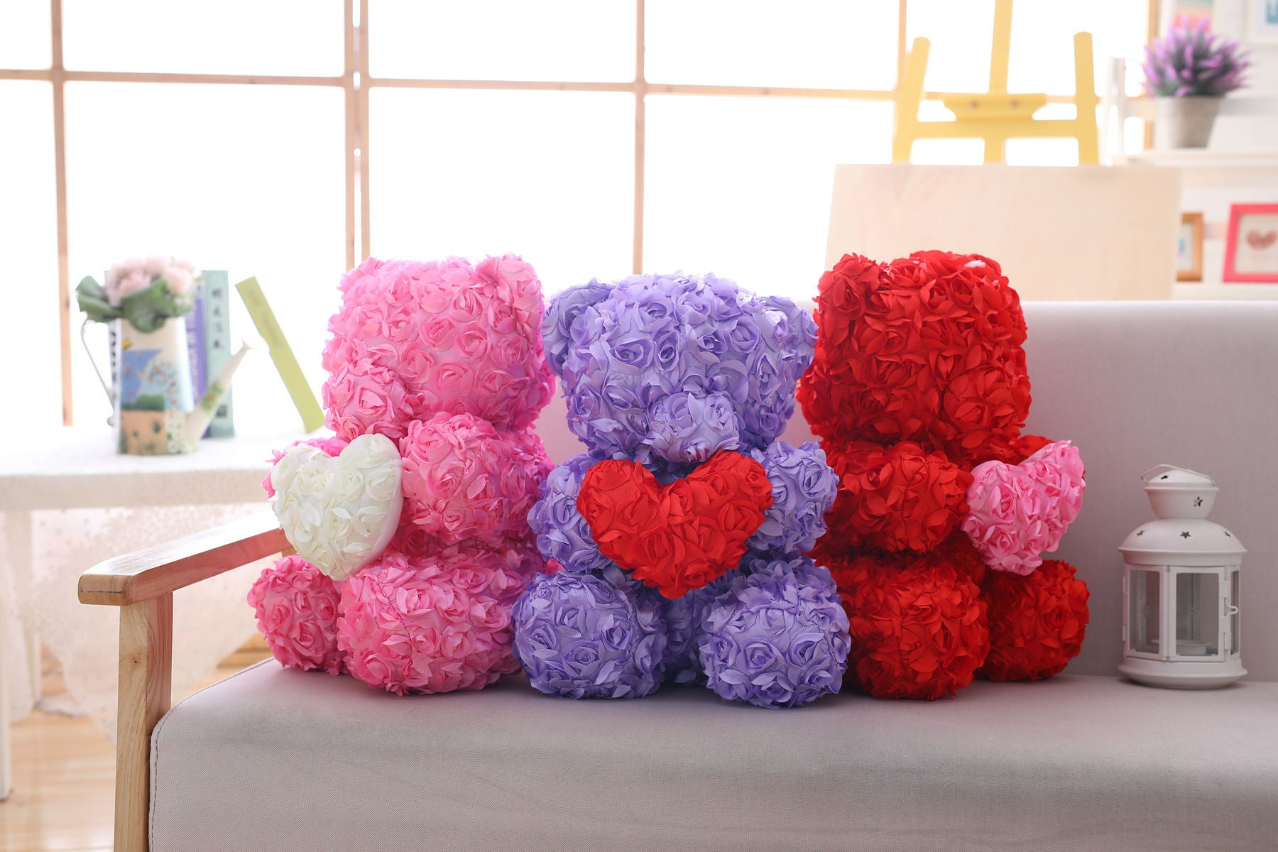 40cm Enchanted Forever Rose Heart Teddy Bear (5 Colors)