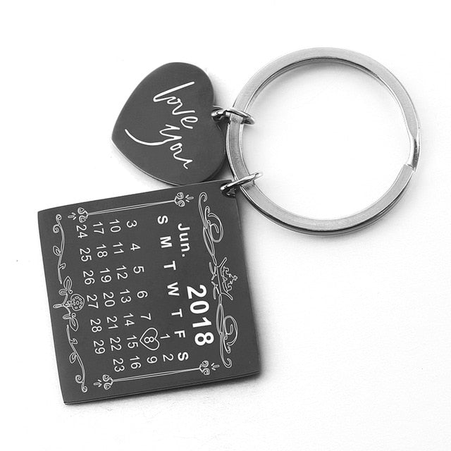 Custom Personalized Calendar Anniversary Birthday Keychain (45 Options)