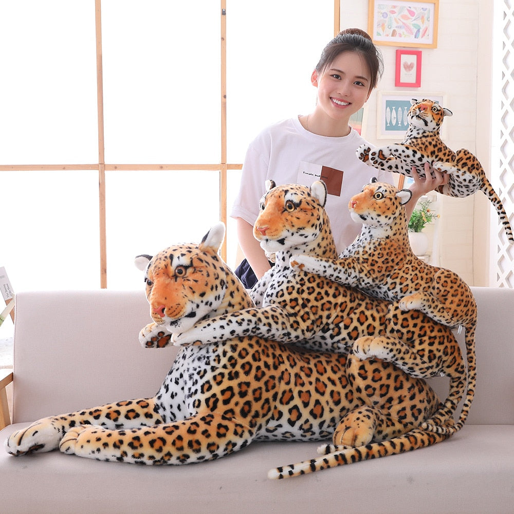 Big Kitty Pillow Plush 3D Stuffed Animal (8 Sizes) Tiger or Leopard (Black, Brown or White)