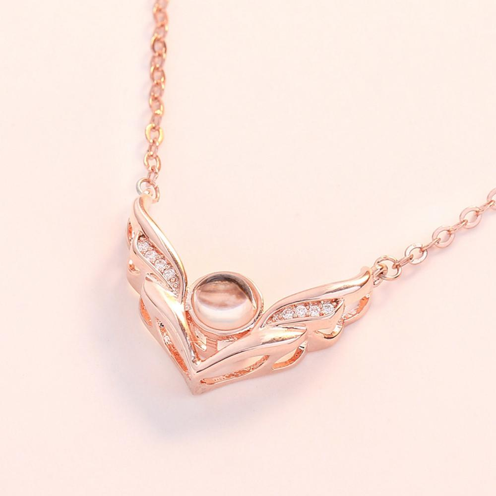 """I Love You"" Forever (Angel Wings) 100 Language Micro Projection Necklace"