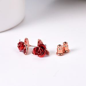 Red Rose Earrings Set (3 Finishes)