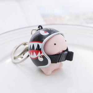 Kawaii Mochi Ding Ding Squishy Helmet Key Chain