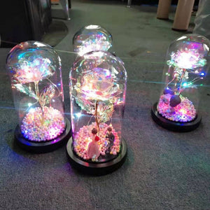Rainbow Orbs Galaxy Enchanted Rose LED Glass Display (4 Designs)