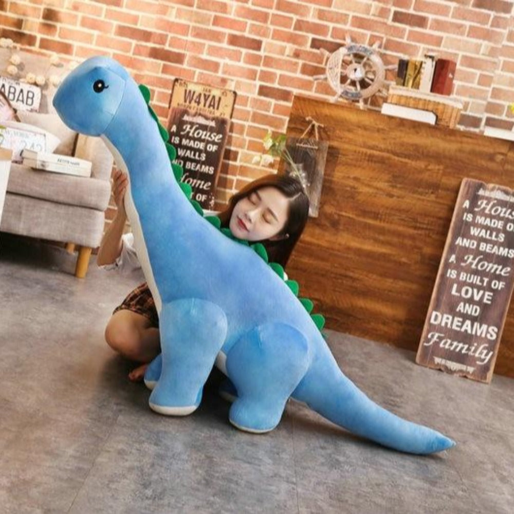 Long Neck Dino Pillow Plush 3D Stuffed Animal Brachiosaurus (4 Colors) 5 Sizes
