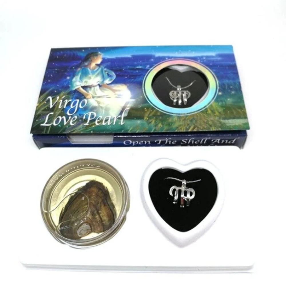Natural Pearl of Love Fresh Oyster Zodiac Necklace & Gift Box (17 Styles)
