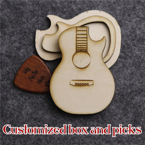 *Custom 2-4 weeks to make* Personalized Text - Wooden Guitar Picks & Box
