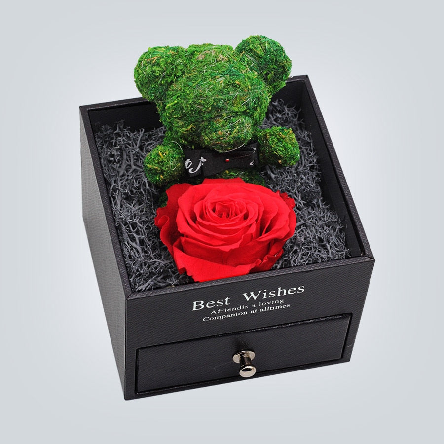 Immortal Preserved Rose Teddy Bear Box Display (22 Styles) With Bear or Without