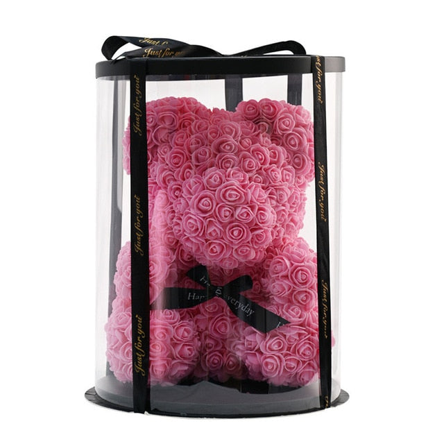 Deluxe Enchanted Forever Rose Teddy Bear Round Gift Box (32 styles) Optional LED Lights or Crown