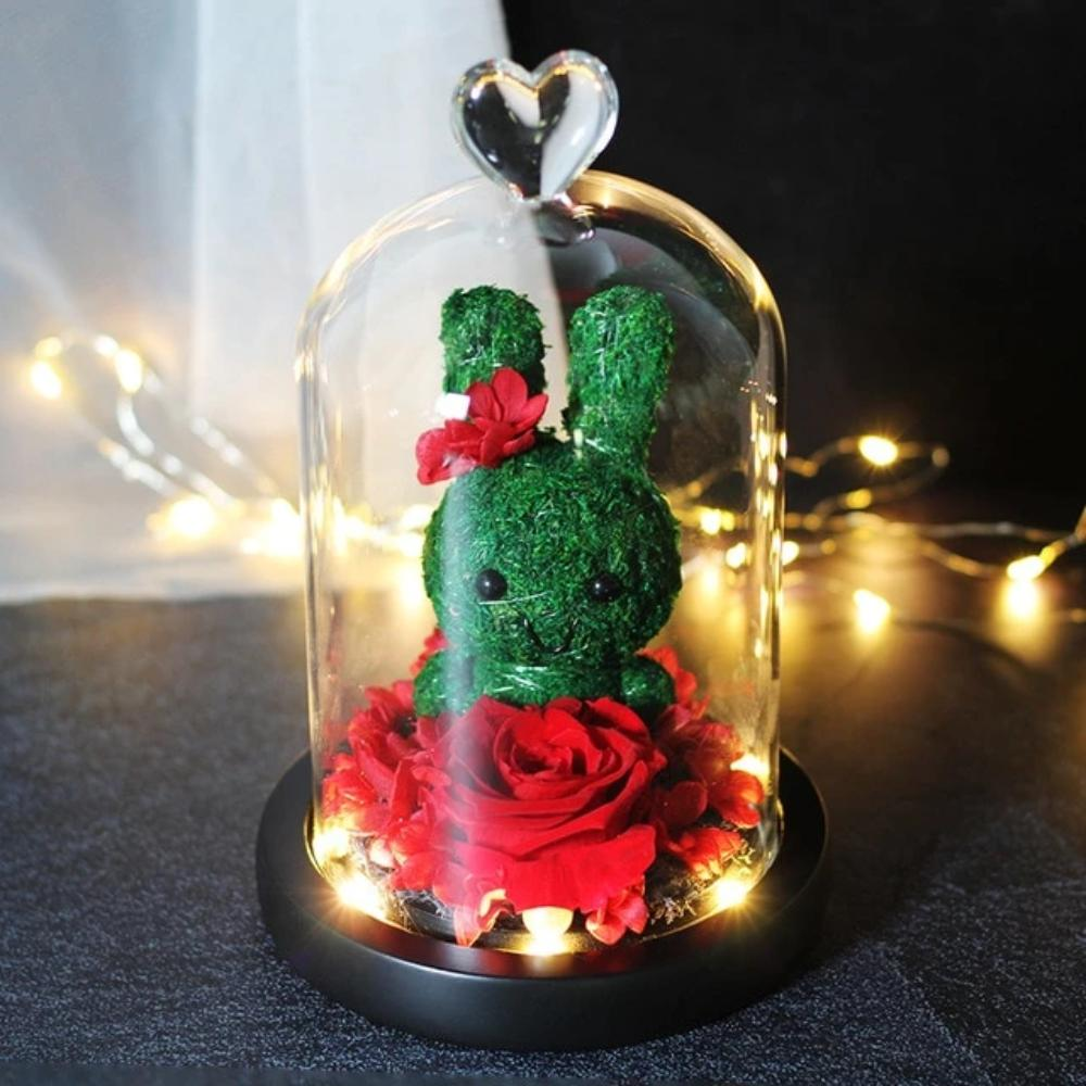 Immortal Preserved Rose Bunny Rabbit Glass LED Display (6 Designs)