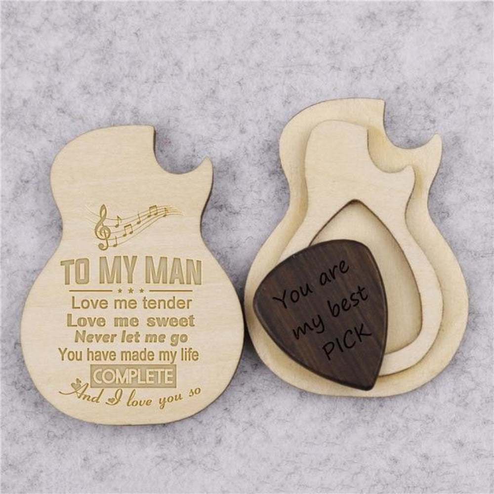Special Message - Wooden Guitar Picks & Box (30 Designs)