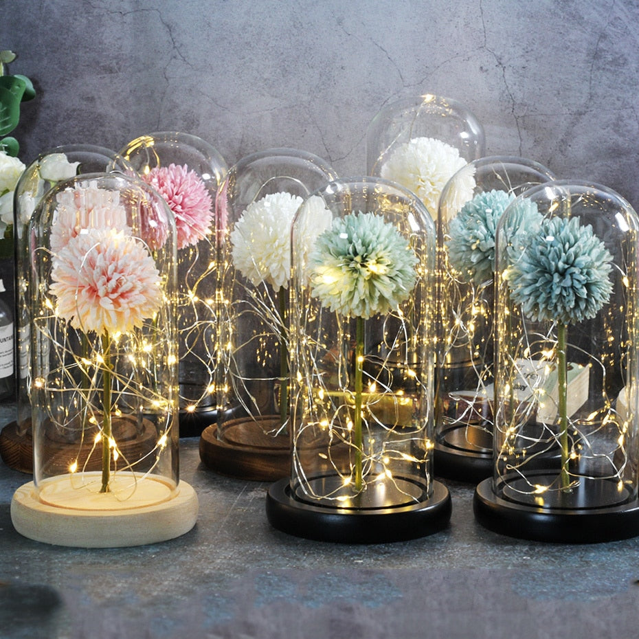 Puffball Immortal Enchanted Artificial Rose Glass Display (18 Colors)