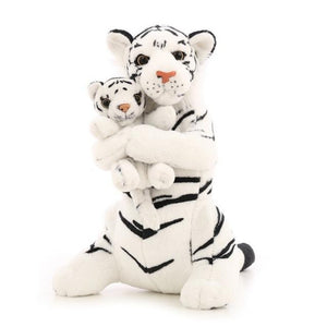 Momma & Baby Tiger Cub Pillow Plush 3D Stuffed Animal (3 Colors)