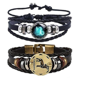 Astrology Zodiac Braided Bracelet 2 Pack Horoscope Constellations (12 Designs) Luminous Glow In The Dark