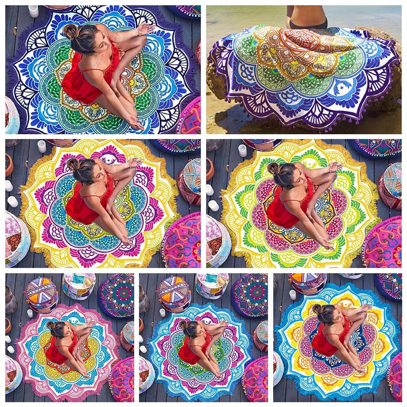 7 Color Chakra Mandala Tassel Tapestry Towel Carpet Blanket