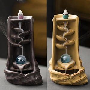 Mystic Mountain River Down Flow Draft Incense Burner (Coffee or Yellow)