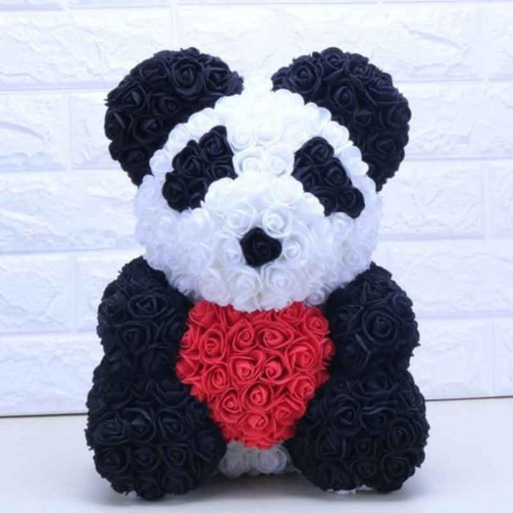 XL Panda Enchanted Forever Rose Heart Teddy Bear (2 Designs)