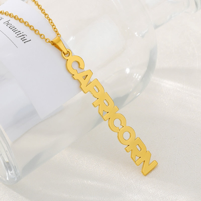 Astrology Zodiac Necklace Pendant Horoscope Constellations (12 Designs) Gold, Rose Gold or Silver