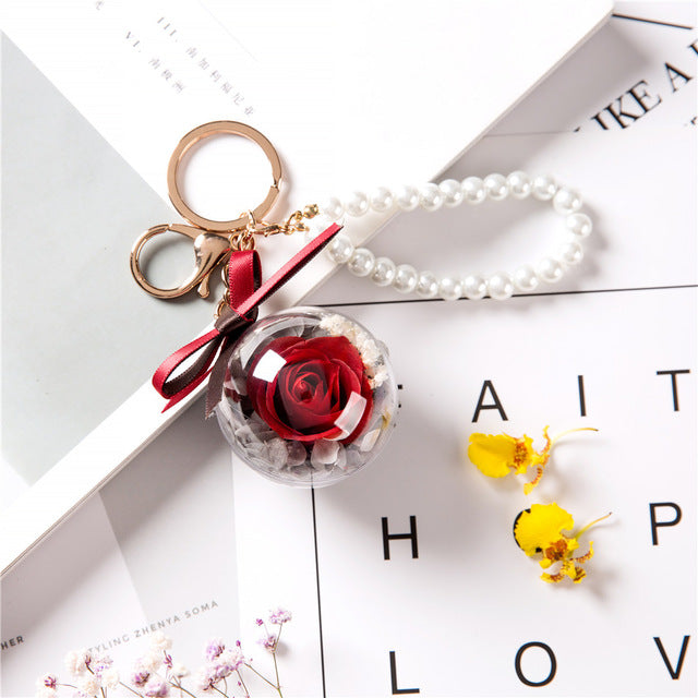 Immortal Enchanted Rose Sphere Key Chain (11 Designs)