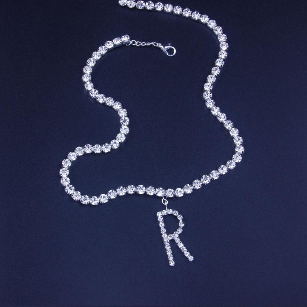 Iced Personalized Letter Initial Custom Necklace Rhinestone Chain