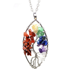 7 Color Chakra Tree of Life Natural Stone Reiki Necklace or Keychain (31 Designs)