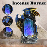 Mystic Double Dragon Cave Down Flow Draft Incense Burner