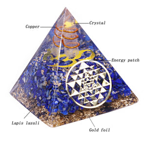 Lapis Lazuli Orgonite Pyramid Blue Chakra Energy Business Growth