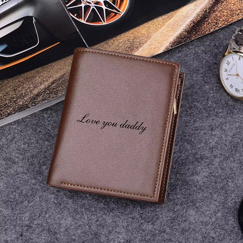 Leather Custom Photo Wallet Personalized Children, Wife, Pets, Family