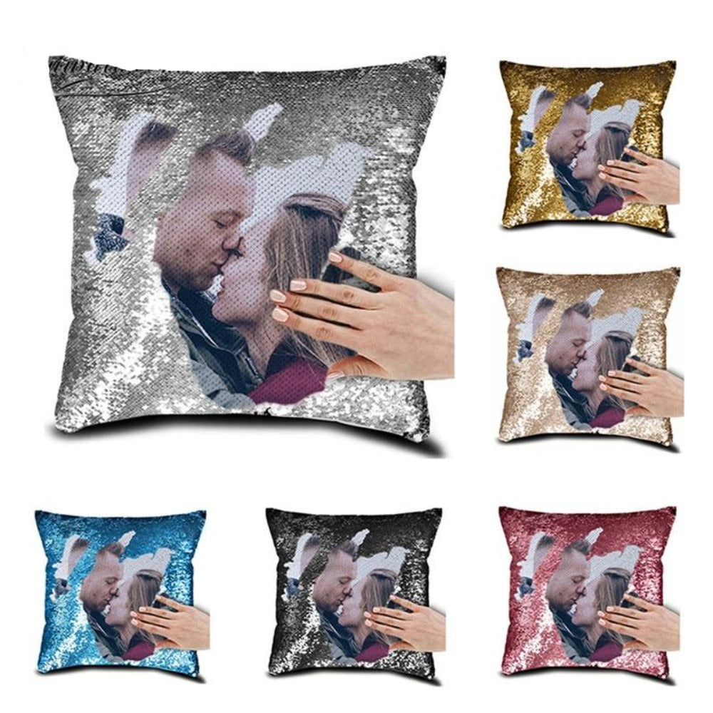 Custom Photo Sequin Pillow Case Personalized Children, Wife, Pets, Family (8 Colors)