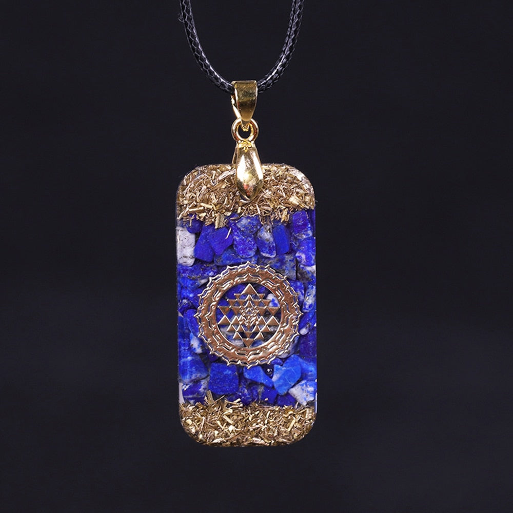 Lapis Lazuli Orgonite Pendant Blue Chakra Energy Business Growth Necklace Bar